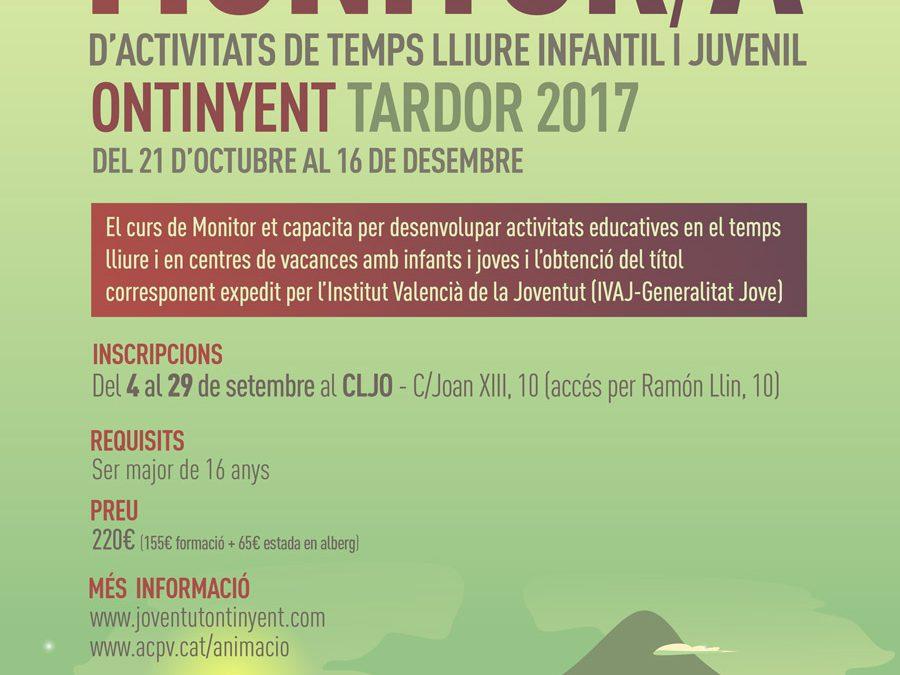 L'Escola d'Animació d'ACPV realitzarà el Curs de Monitor/a Tardor 2017 a Ontinyent